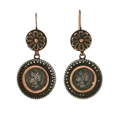 Victorian Sterling & 12kt Roman Coin Earrings