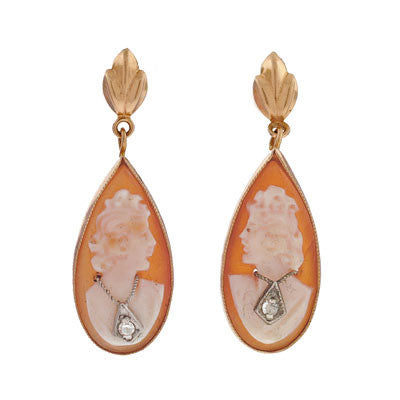 Late Art Deco 14kt & Diamond Shell Cameo Earrings