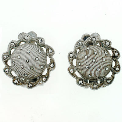 FAHRNER Vintage Sterling & Marcasite Pin & Earring Set