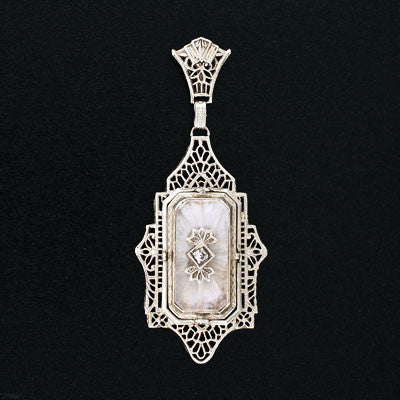 Late Art Deco 14kt Rock Quartz & Cameo Flip Pendant