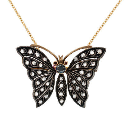 Retro Sterling & 14kt Diamond Butterfly Pendant