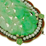 Art Deco 14kt Hand Carved Jade, Pearl & Enamel Pin