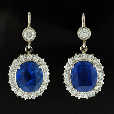Estate Natural Unheated 10ctw Sapphire & Diam Earrings