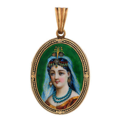 Victorian 14kt Diamond & Enamel Portrait Locket