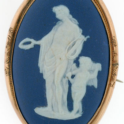 Victorian Oval Shaped Wedgewood Pin