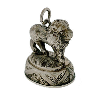 Victorian Sterling Silver Lion & Bloodstone Fob Pendant
