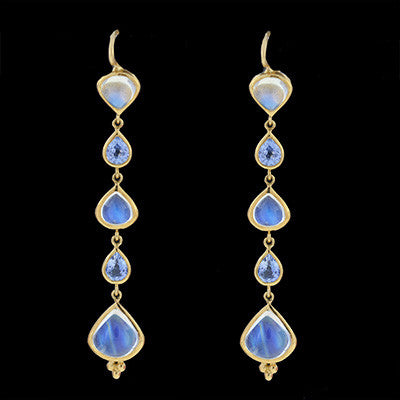 TEMPLE ST. CLAIR Estate Moonstone & Aqua Earrings