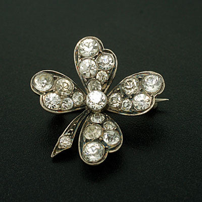 Victorian Sterling & Four Leaf Clover French Paste Pin