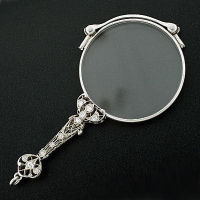 KREMENTZ Art Deco Platinum & Diamond Lorgnette Glasses
