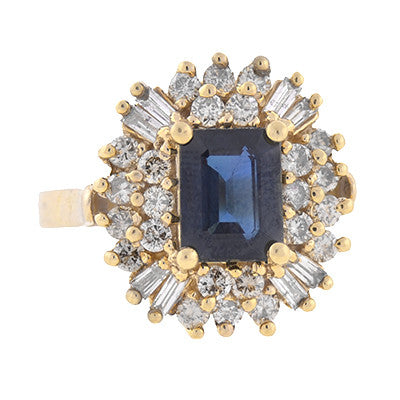 Vintage 14kt Sapphire & Diamond Cluster Ring 1.25ct
