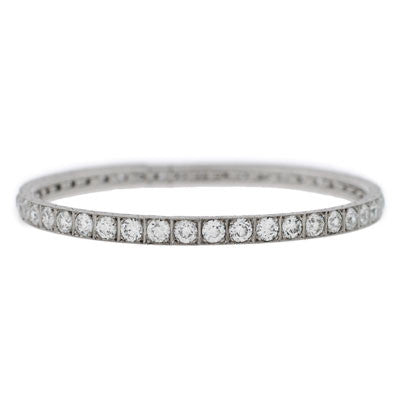 Art Deco Platinum & Diamond Expandable Bangle 8.77ctw
