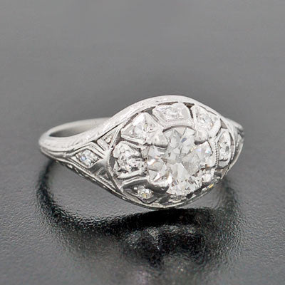 Art Deco Platinum Diamond Engagement Ring .84ct