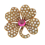 Victorian 14t Pave Pearl & Faux Ruby 4 Leaf Clover Pin
