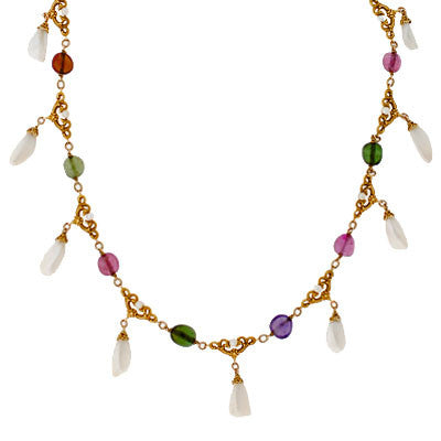 Art Nouveau 15kt Natural Pearl & Tourmaline Necklace