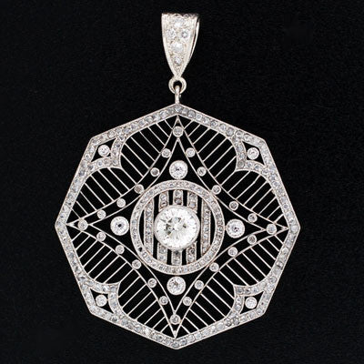 Edwardian Platinum Diamond Filigree Pendant 1.09ct center