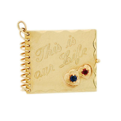 Retro 14kt Ruby & Sapphire Movable Scrapbook Charm