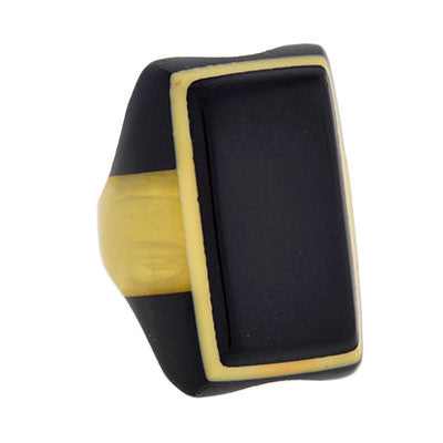 Art Deco Black & Yellow Celluloid Ring