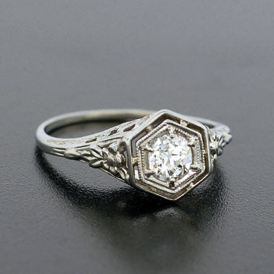 Art Deco 18kt Diamond Engagement Ring .49ct