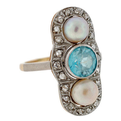 Edwardian Plat Top 14kt Diamond Pearl & Zircon Ring