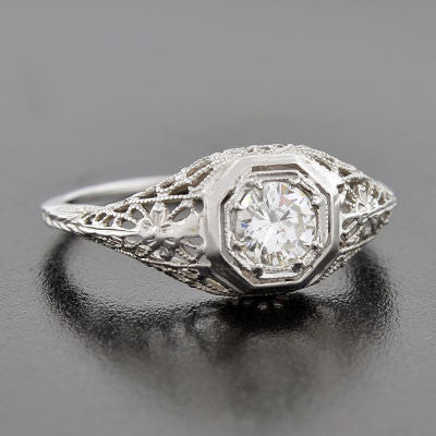 Art Deco 18kt Diamond Engagement Ring .54ct
