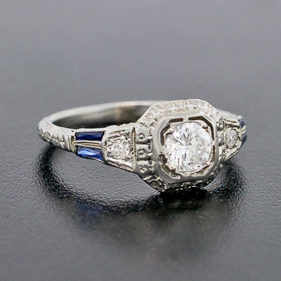 Art Deco 18kt Filigree Diamond & Sapphire Engage Ring .35ct