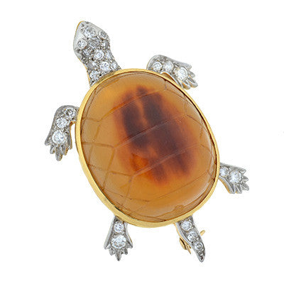 Edwardian 14kt & Platinum Tortoise Shell Turtle Pin