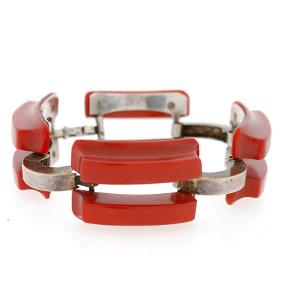 Art Deco Bakelite & Chrome Large Link Bracelet