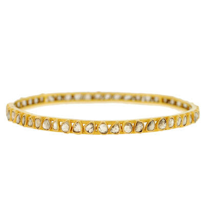 Estate 18kt & Rose Cut Diamond Bangle Bracelet