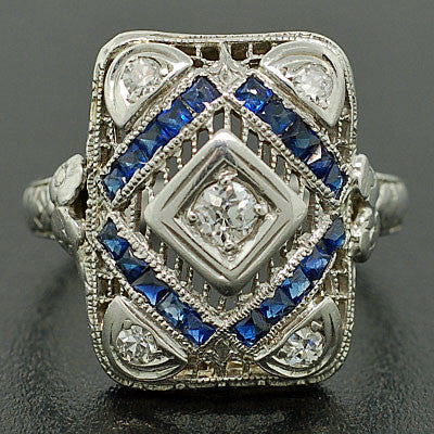 Edwardian 18kt White Gold Diamond & Sapphire Ring .30ctw