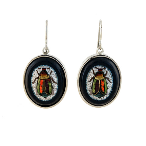 Victorian Egyptian Revival Sterling Onyx Micro Mosaic Scarab Earrings