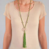 LALIQUE French Art Deco Crystal Nude Woman Pendant + Tassel Necklace 30