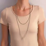 Art Deco Silver + French Paste Chain Necklace 62