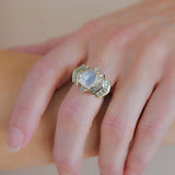 Vintage 14kt Moonstone + Diamond Ring 1.50ctw