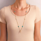 Victorian Long 14kt Turquoise + Mississippi River Pearl Chain Necklace 48