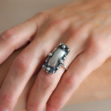 Arts & Crafts Large Dutch Silver Hand Wrought Ring