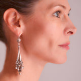 Victorian Dramatic Sterling Hollow Dangling Vessel Earrings