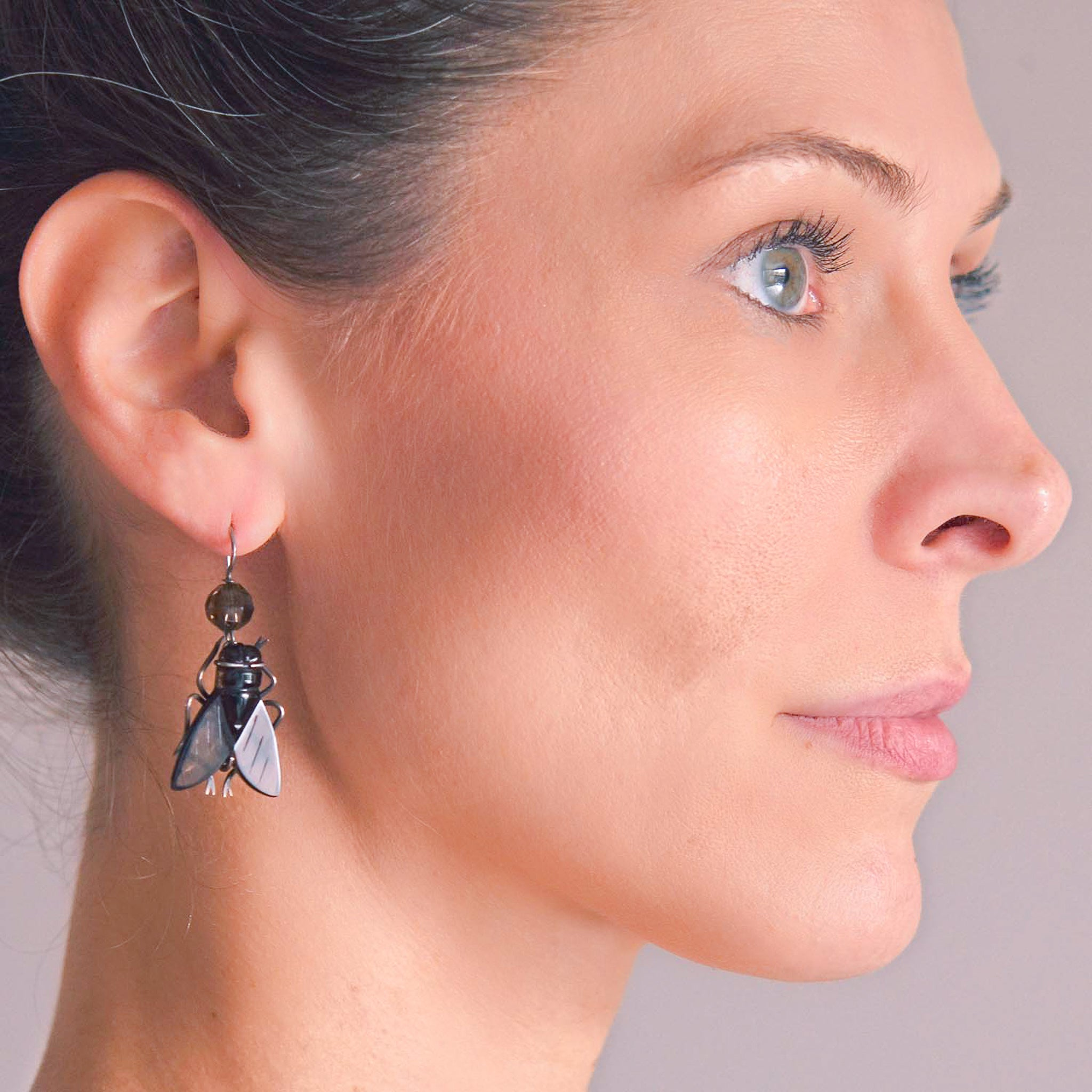 Victorian Sterling Carved Smoky Topaz Flying Insect Earrings