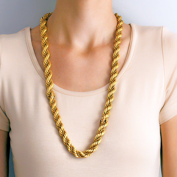 Vintage Gold Braided Chain Necklace Gold Costume Jewelry