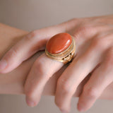 Art Deco Chinese Sterling Gilt Large Coral Cabochon Ring