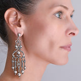 Vintage Peruzzi Style Dramatic Sterling Wirework + Beaded Dangle Earrings