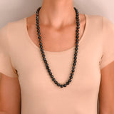 Victorian Style Matte Banded Agate Bead Necklace 31.5