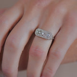 Art Deco 12kt 3-Stone Diamond Filigree Ring 0.65ctw