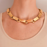 Victorian 14kt Yellow Gold Wide Book Chain Necklace 18
