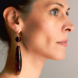 Victorian Dramatic Large Teardrop Tortoise Shell Earrings