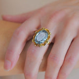 Vintage Large 18kt Aquamarine Ring 8.00ct