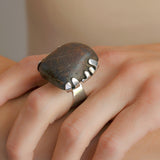 PEDER MUSSE Vintage Huge Sterling Petrified Wood Ring