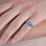 Victorian 18kt Rose Cut Diamond + Turquoise 5-Stone Ring