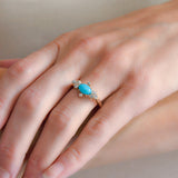 Victorian 14kt Turquoise + Diamond Ring 0.50ct
