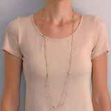 Retro 14kt Blue Moonstone Link Chain Necklace 40