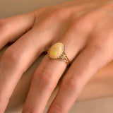 Victorian 14kt Natural Opal Cabochon Ring 4ctw